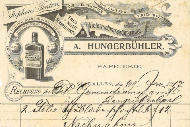 Rechnung einer Papeterie in St.Gallen, 1917