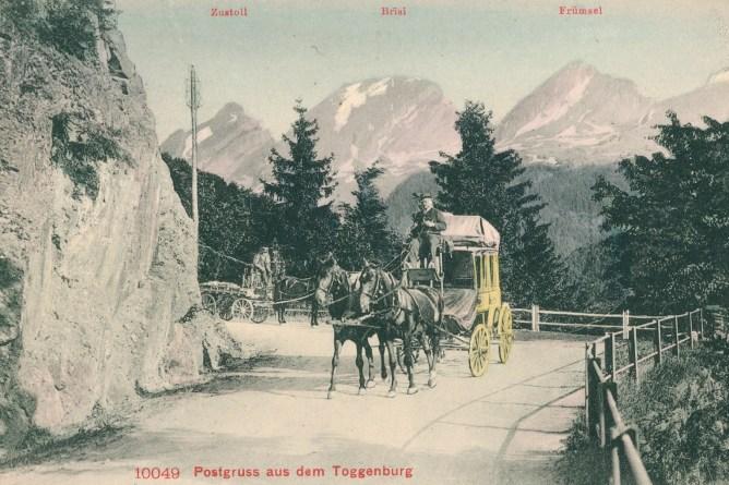 Postkutsche im Toggenburg, 1909