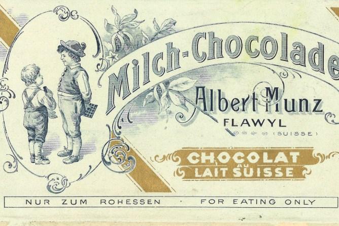 Einpackpapier für Munz-Schokolade, Flawil