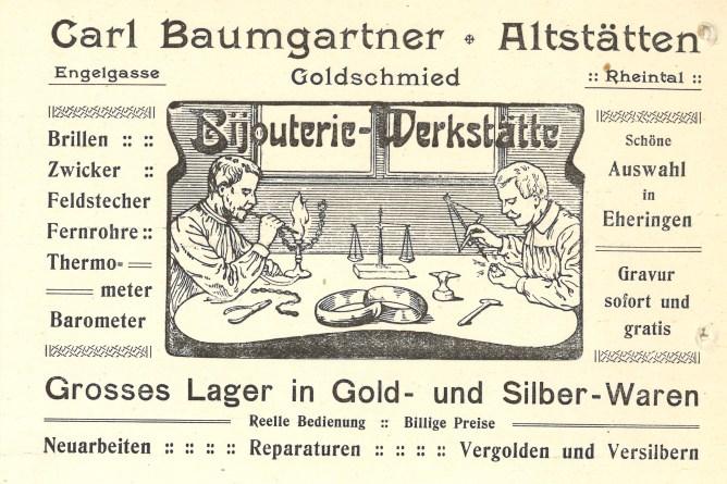 Quittierkarte eines Bijouteriegeschäfts in Altstätten, 1911