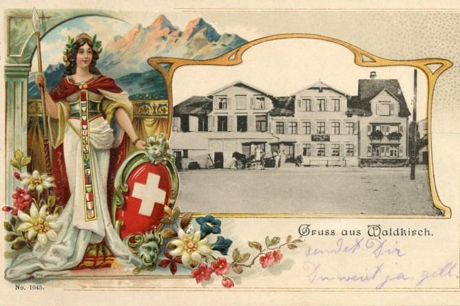 Ansichtskarte von Waldkirch mit stehender Helvetia