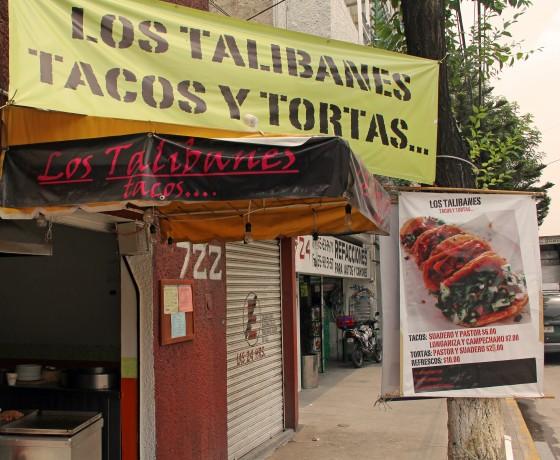 Tortas, Tacos und Talibane: Das Imbisslokal in Mexiko-Stadt fällt durch seinen ausgefallenen Namen auf.