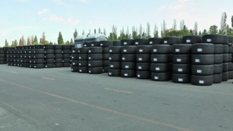 A bunch of tires at the The Napa Auto Parts 200 presented by Dodge