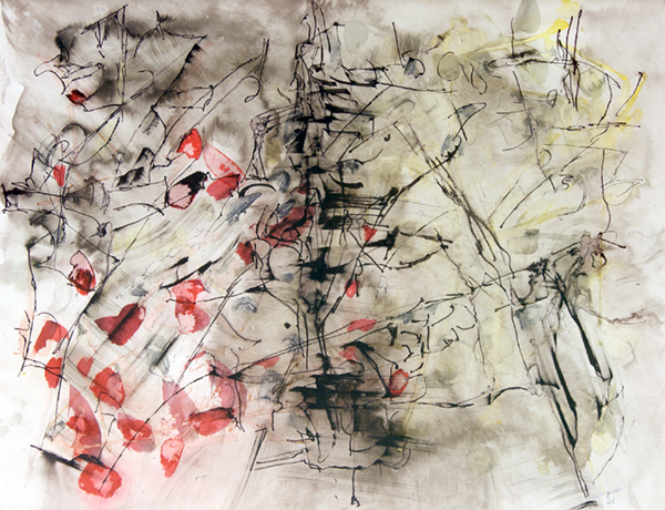 """Composition by jean Paul Riopelle. Ink and watercolor on paper, 1961. 20"""" x 26"""" image courtesy Iegor."""