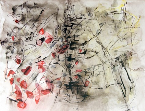 "Composition by Jean Paul Riopelle. Ink and watercolor on paper, 1961. 20"" x 26"""