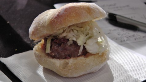 Fom Café Ferreira: A spicy three meat burger with Serra cheese on a Portuguese bun