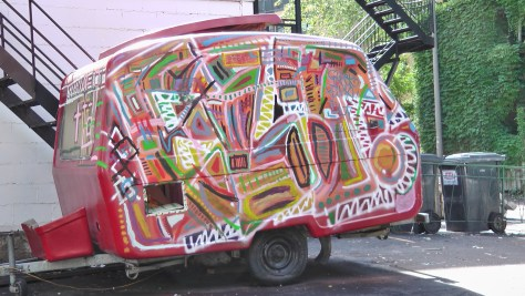 A hippy-dippy trailer that was parked beside Square Saint Louis.