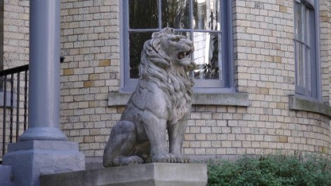 Traditional Lion sculpture on Elm Ave.