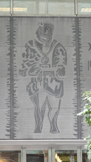 One panel from the relief on 500 Saint Jacques, Montreal