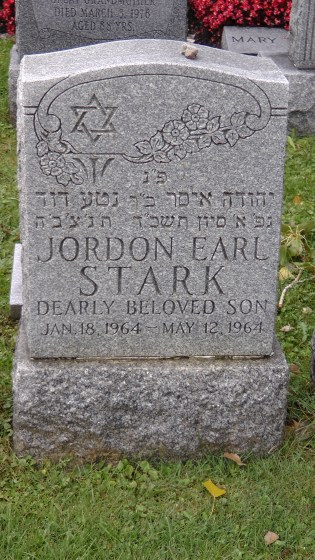 Jordan Earl Stark's monument at The Baron de Hirsch Cemetery