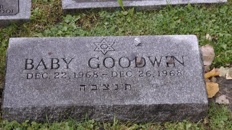 Four day old Goodwin child's monument at The Baron de Hirsch Cemetery