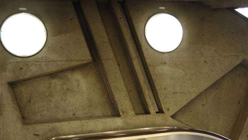 Inside metro de la Savane (view of the lights and the bas relief)