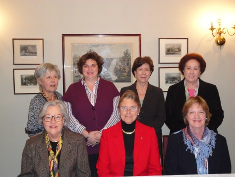 LMMC Committee 2012-2013. Top row left to right: Régine Langlois, Corinne Bergeron, Ghislaine Charbonneau, Monique Prévost Bottom row left to right: Louise Robertson (Honorary Secretary), Constance V. Pathy (President), Michèle Nepveu