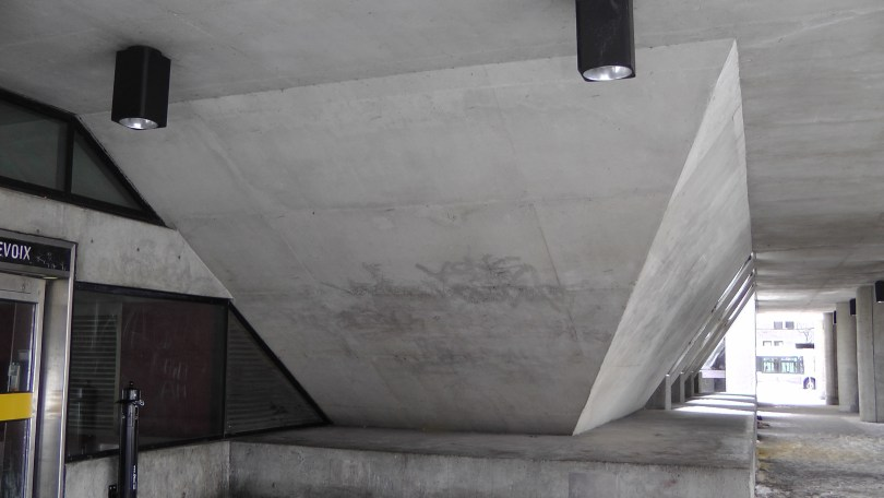 A Massive concrete structure in the Bus Loop at Métro Charlevoix