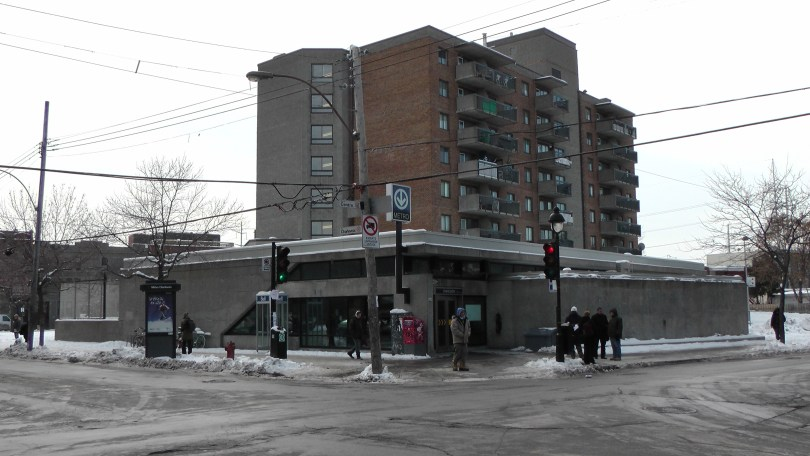 The Métro Charlevoix Building and attached apartment complex looking southwest.