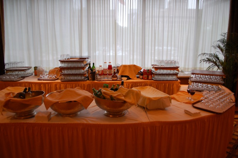 The aftermath of the cocktail party at the Table of Hope.