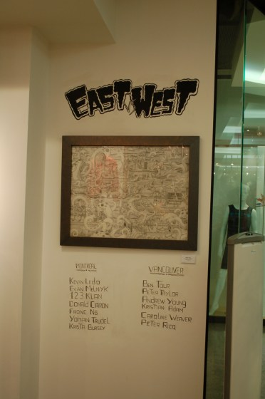 East vs. West at Three Monkeys, installation view