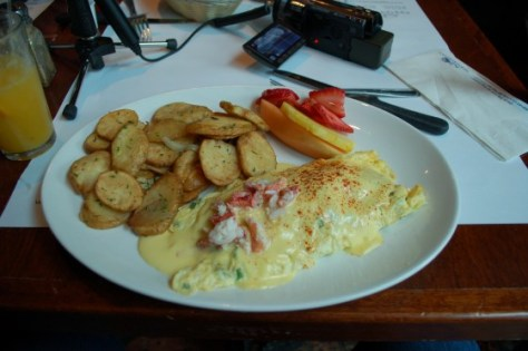 The Lobster Omelette at Eggspectations