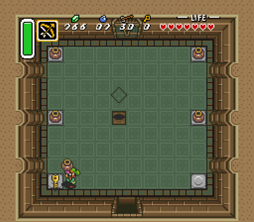 Step Two This room features Flying Tiles, which unearth from the floor before flying directly at Link. You can use your Sword to attack them or just dodge them. In this room, you just need to find the Small Key, hidden under a pot to escape instead of having to endure their onslaught.