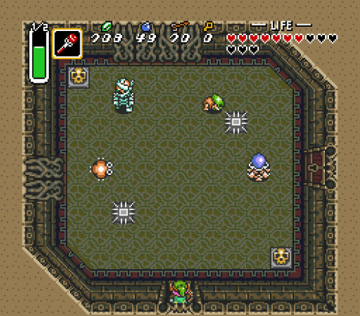 Step Nine This room provides you a smorgasbord of enemies. Tackle them from greatest threat to least—the Helmasaur and the Hardhat Beetle first, then the Gibdo, and then the Moldorm. Defeating them all will get you a key to unlock that door.