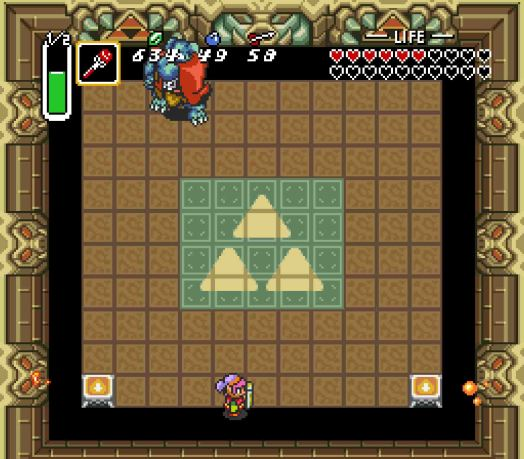 Step Two From the edge of the platform, use the Fire Rod to light both of the torches. Ganon will appear, but it will take him a second or so for the game to update his position.