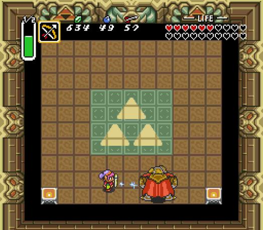 Step Five When he's blue, fire a Silver Arrow into his heart. This is the only way to inflict real damage to the beast. Everything up to now has been just about lowering Ganon's defenses. He'll only stay stunned for two seconds, so if you miss, you'll likely not get another chance until the next cycle.