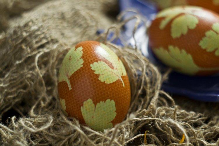 Пасхальні яйця декоровані за допомогою петрушки
