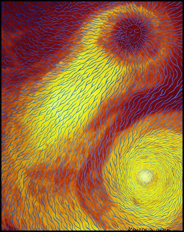 """Sun With Energy Field - Oil on canvas, 16"""" x 20"""", 2002"""
