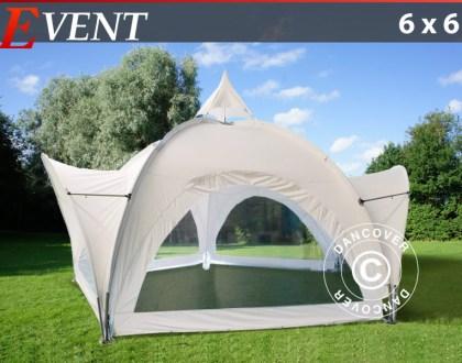 Partyzelt Event 6x6m mit Panoramafenstern, weiß