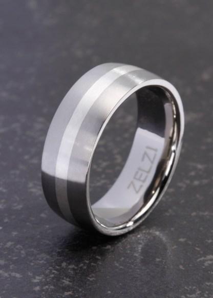 Angelos stoere titanium ring met zilver