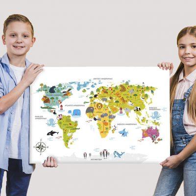 Vaikiškas pasaulio žemįlapis, lietuviški pasaulio žemėlapiai, vaikiškas zemėlapis