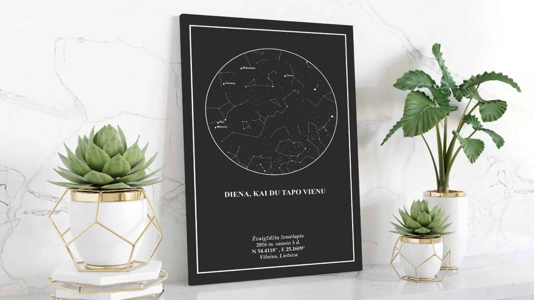 Juodas zvaigzdziu zemelapis, Žvaigždžių žemėlapiai, pažymėti svarbia data, dangaus pasas, Žvaigždėlapis ant drobės, zvaigzdelapiai ant sienos4