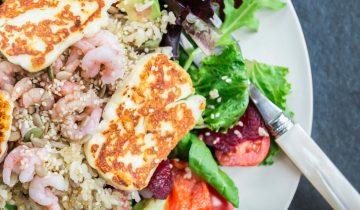 Recette : Salade de Riz,Quinoa, crevettes et légumes