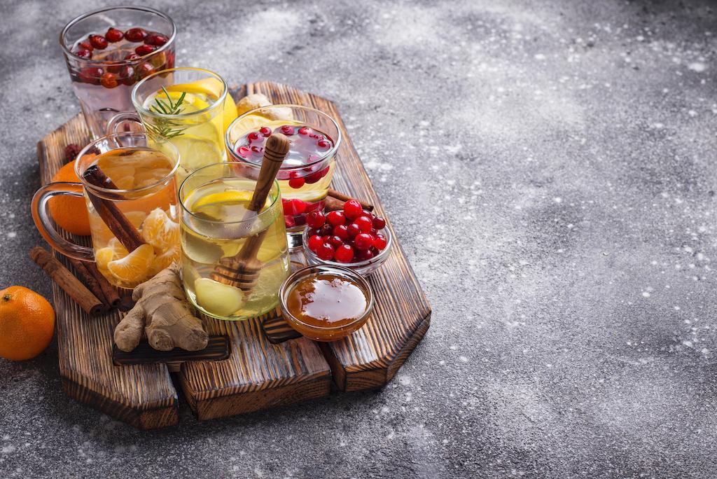 assortment of winter healthy tea for immunity boos A4DSFDV