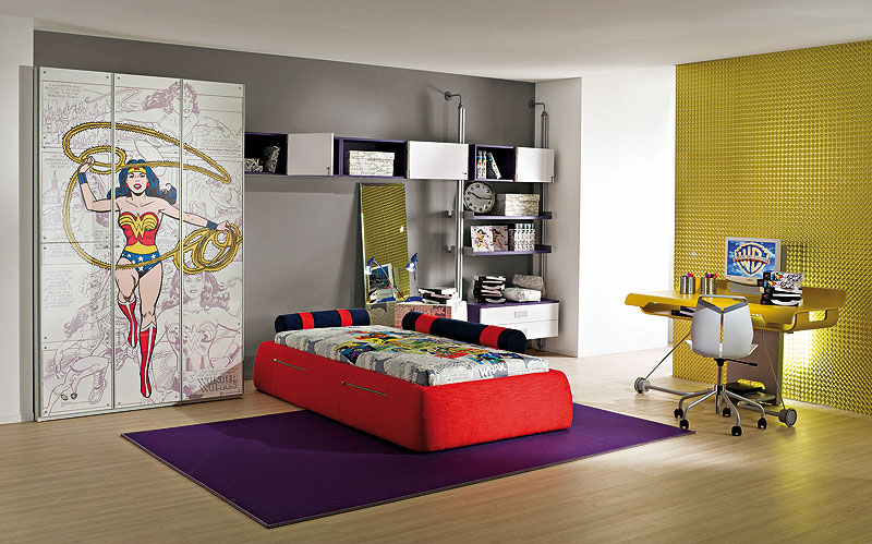 Wonder Woman Room Ideas Bedroom with Decals Rug Desk Minimalist Design