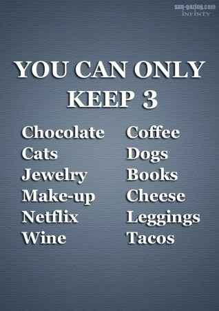 You can only keep 3 things