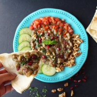 Syrian Baba Ganoush (No Tahini) - Smoky Eggplant Pomegranate Dip