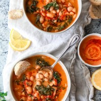 Mediterranean White Bean Soup with Harissa & Tahini (Vegan)