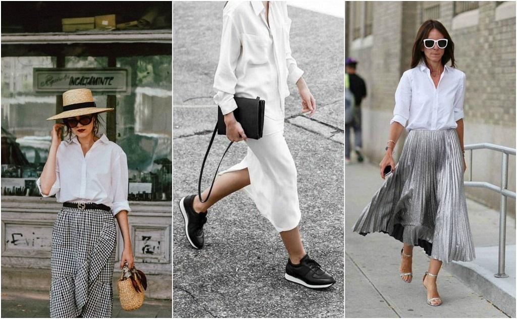 bijela košulja, suknja