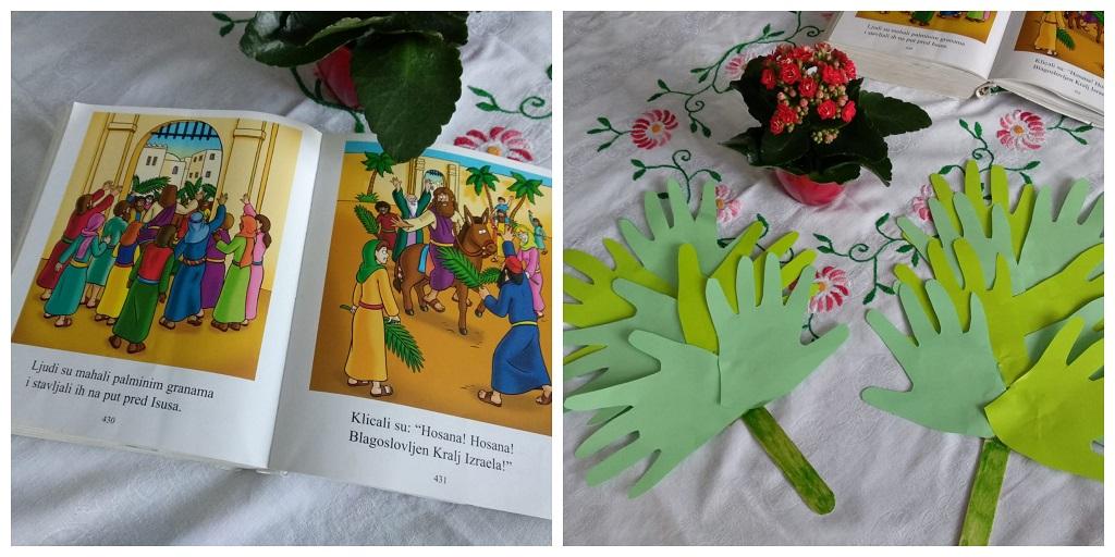 Cvjetnica u obitelji, dječja Biblija i palmine grane od otisaka ručica