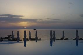 Sani beach pool - sunset
