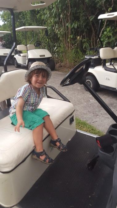 Kids fun: driving the golf cart