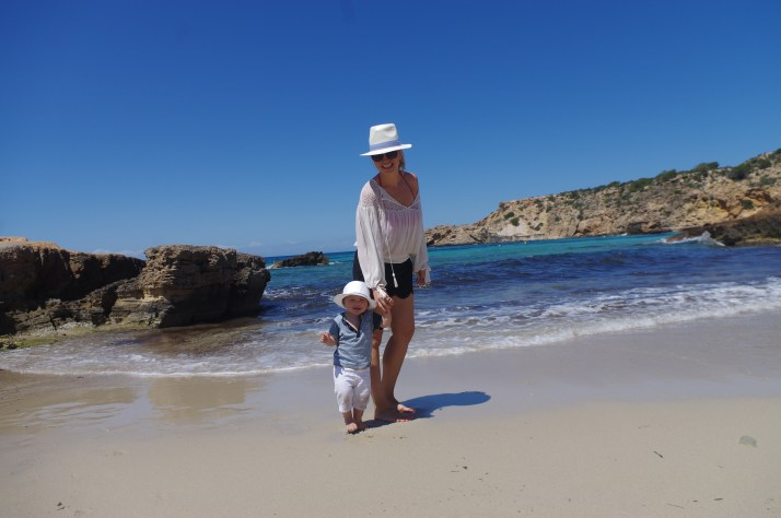 Family guide to Ibiza: Calla Tarida with baby