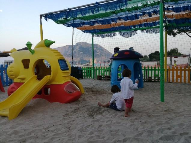 Mondello beach and playground
