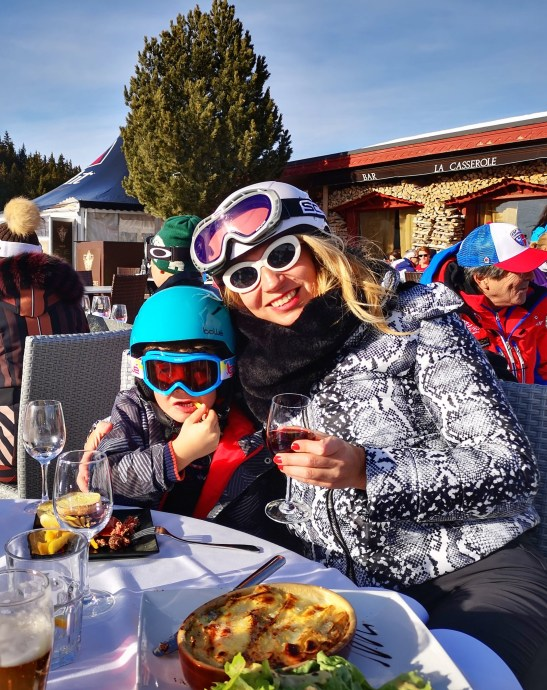 Lunching and wining on Courchevel slopes