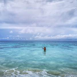 Swimming at Anse Intendance Seychelles with kids