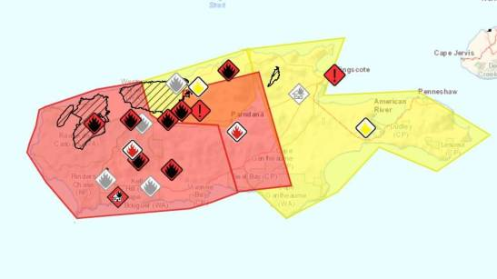 Kangaroo Island map - aftermaths of the bushfires