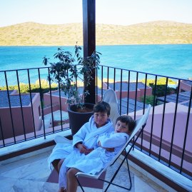Domes of Elounda cute kids bathrobes