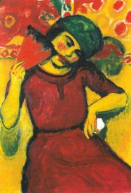Hermann Max Pechstein - Young Woman With a Red Fan
