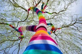 Exemple de Yarn bombing, mouvement initié par Magda Sayeg en 2005